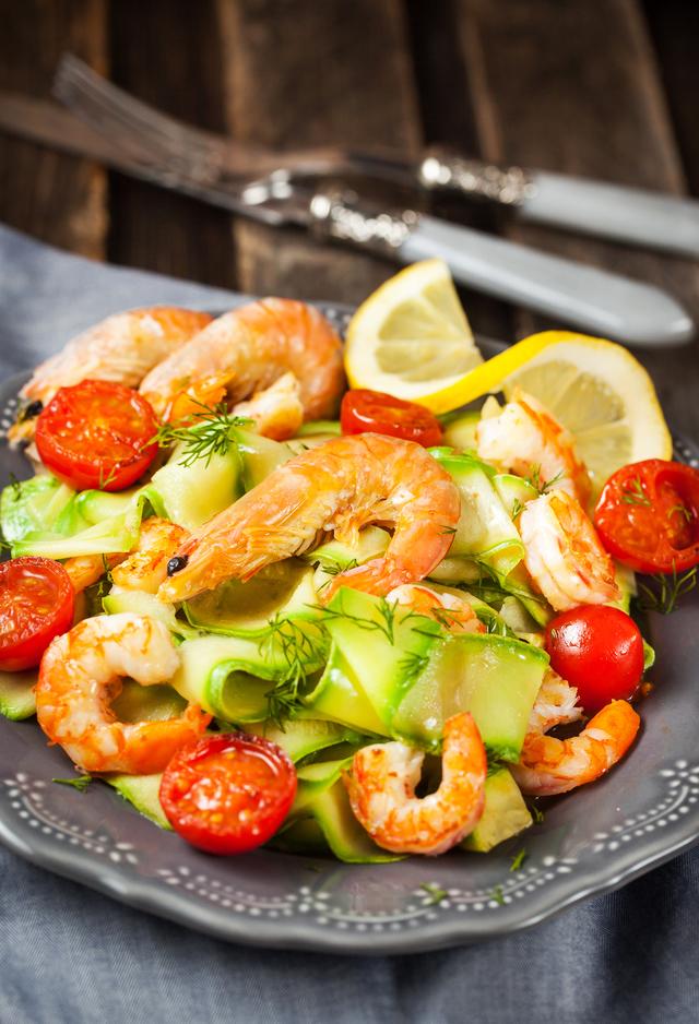 lamelles de courgettes crevettes recette