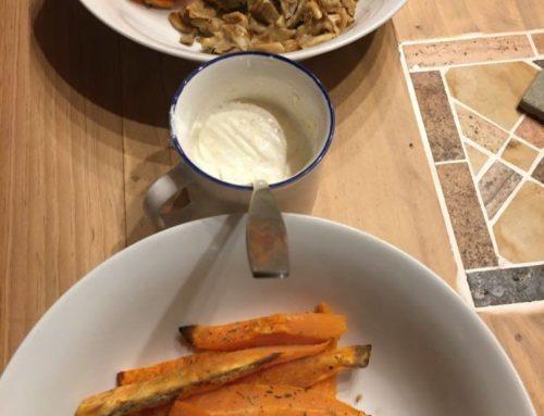 Pleurotes frites patates douces